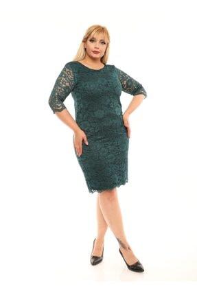 VOLİNAY Büyük Beden Yeşil Güpür Detay Kollu Abiye Elbise 2