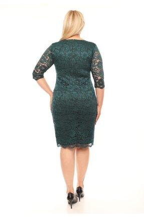 VOLİNAY Büyük Beden Yeşil Güpür Detay Kollu Abiye Elbise 3