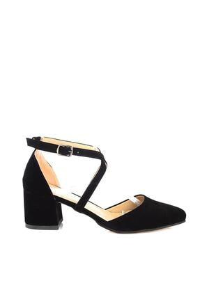 Soho Exclusive Siyah Süet Kadın Klasik Topuklu Ayakkabı 14392 3