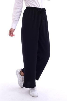 Butik Vanilin Kadın Siyah Beli Lastikli Bol Paça Rahat Kalıp Aerobin Pantolon 1