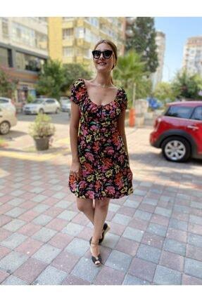 JOMOFU Kadın Renkli Çiçek Desenli Elbise 0