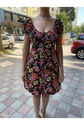 JOMOFU Kadın Renkli Çiçek Desenli Elbise 1