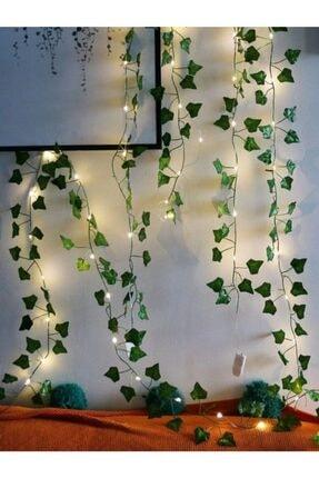 GLR Dekoratif Yeşil Yapraklı Yapay Sarmaşık Gün Işığı (sıcak Sarı) Led Işık, 2,3 mt 30 Led 2