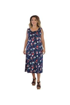 Dükkan Moda Kadın Büyük Beden Elbise Kalın Askılı Büzgülü Beyaz Çiçekli 1