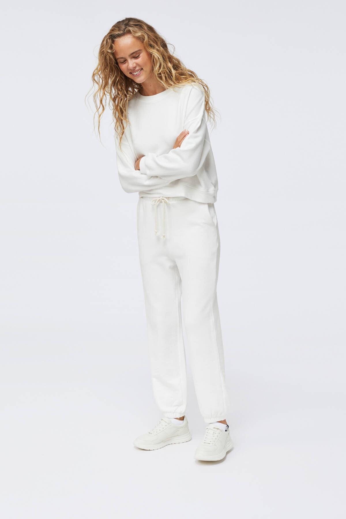 Oysho Kadın Ekru Pamuklu Sweatshirt 1