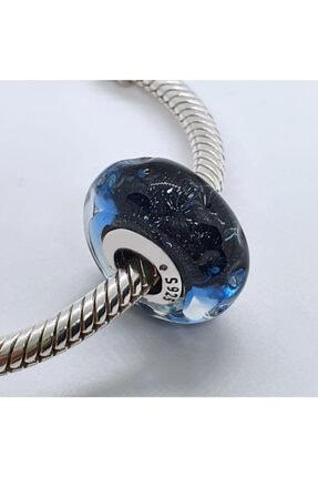 OEM Kadın Gece Mavisi Dalgalar Murano Gümüş Charm 0