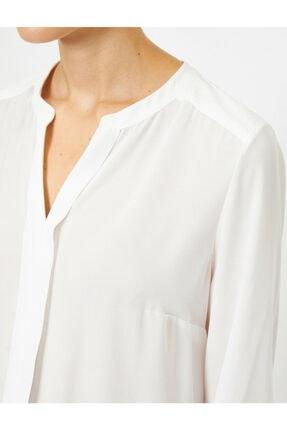 Koton Kadın Ekru V Yaka Uzun Kollu Krep Bluz 4