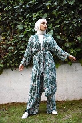 Mevazen Kadın Yeşil Desenli Kimona Ceket 0