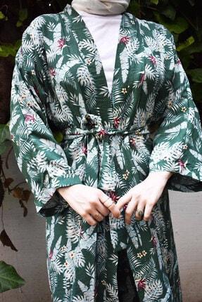 Mevazen Kadın Yeşil Desenli Kimona Ceket 2