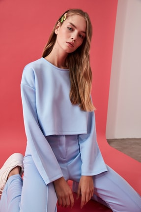TRENDYOLMİLLA Mavi Crop Örme Sweatshirt TWOAW21SW0505 0