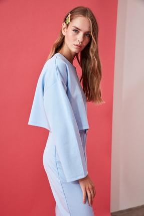 TRENDYOLMİLLA Mavi Crop Örme Sweatshirt TWOAW21SW0505 3