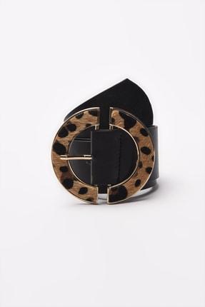 TRENDYOLMİLLA Siyah Leopar Tokalı Deri Görünümlü Kemer TWOAW21KE0023 0