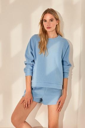 TRENDYOLMİLLA Mavi Basic Havlu Örme Sweatshirt TWOAW21SW0718 1