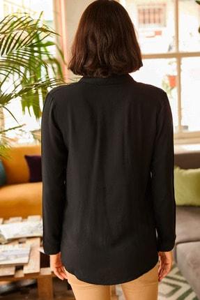 Olalook Kadın Siyah Dokuma Viskon Regular Fit Gömlek GML-19000697 1