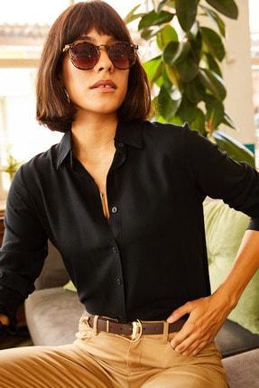 Olalook Kadın Siyah Dokuma Viskon Regular Fit Gömlek GML-19000697 2