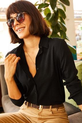 Olalook Kadın Siyah Dokuma Viskon Regular Fit Gömlek GML-19000697 3