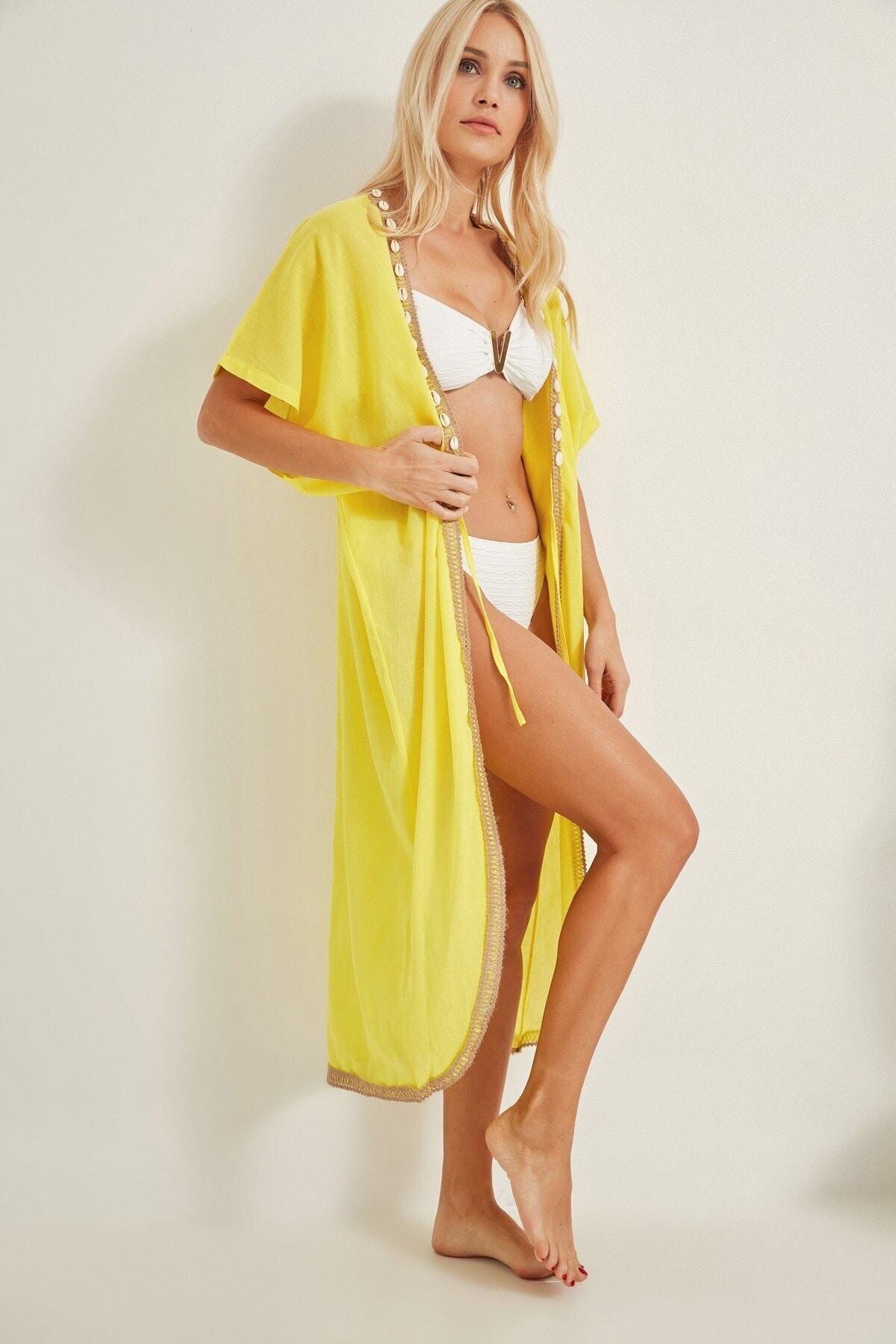 C City Kadın Pareo Plaj Elbisesi 2010 Sarı