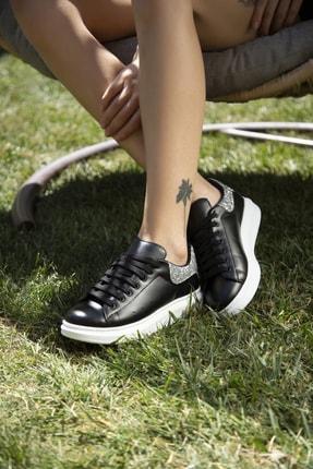 Ayakkabı Modası Kadın Siyah Gümüş Sneaker 5007-20-110001 2