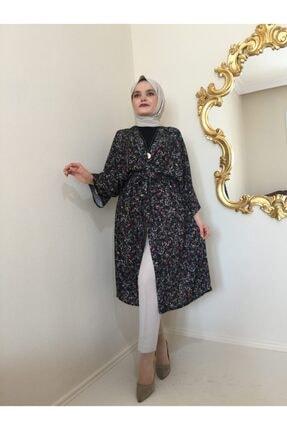 Duende Kadın Siyah Çiçekli Kuşaklı Kimono 0