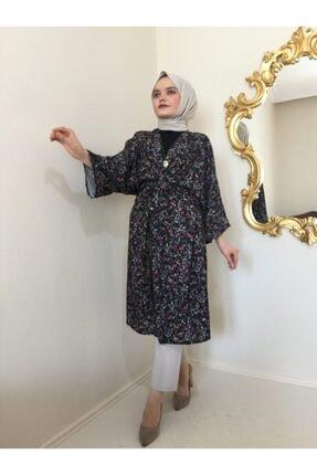 Duende Kadın Siyah Çiçekli Kuşaklı Kimono 1