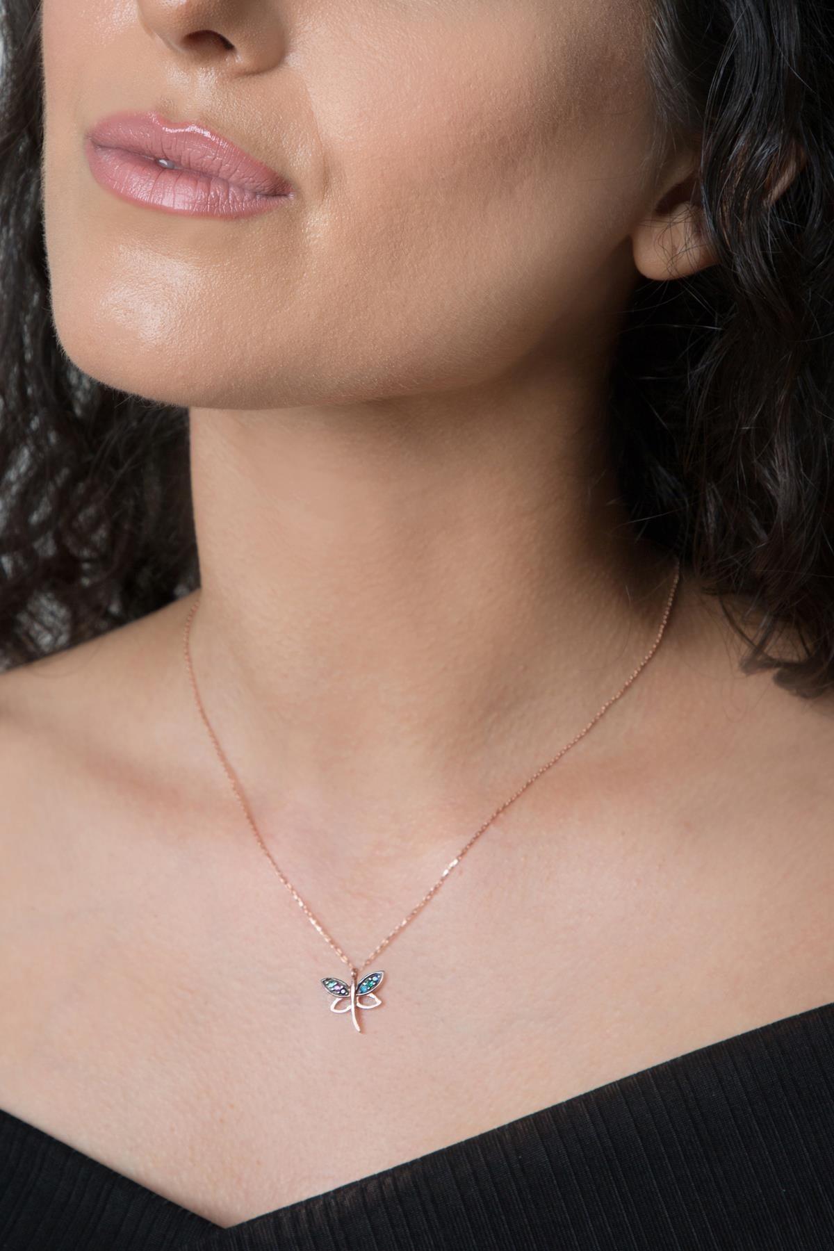 Elika Silver Kadın Yusufçuk Model Mıx Taşlı Rose Kaplama 925 Ayar Gümüş Kolye PP2235 0