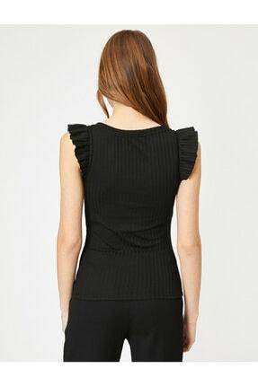 Koton Kadın Siyah Omuzları Fır Fır Detaylı Bluz 3