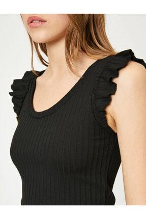 Koton Kadın Siyah Omuzları Fır Fır Detaylı Bluz 4