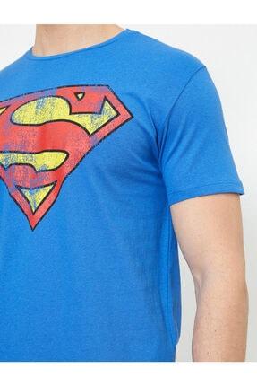 Koton Erkek Mavi Superman Lisansli Baskili T-Shirt 0YAM11216CK 4