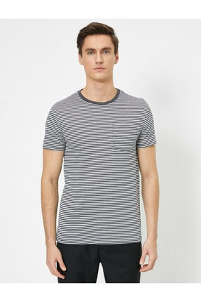 Koton Erkek Gri Cep Detaylı T-Shirt 2