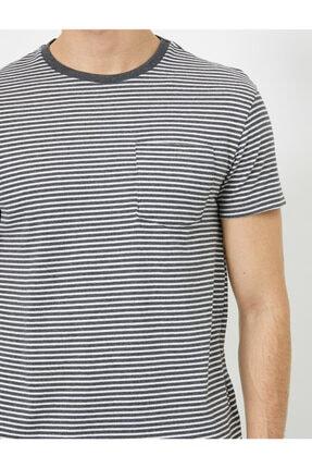 Koton Erkek Gri Cep Detaylı T-Shirt 4