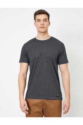 Koton Erkek Gri Bisiklet Yaka T-Shirt 2