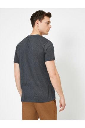 Koton Erkek Gri Bisiklet Yaka T-Shirt 3