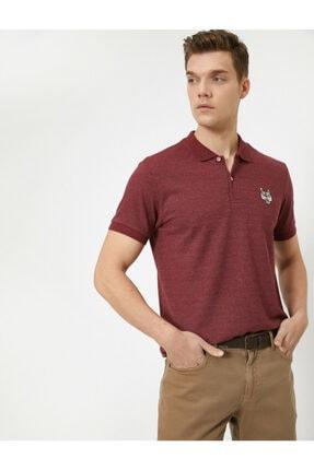 Koton Erkek Bordo Polo Yaka Kısa Kollu İşlemeli T-Shirt 1