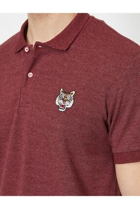 Koton Erkek Bordo Polo Yaka Kısa Kollu İşlemeli T-Shirt 4