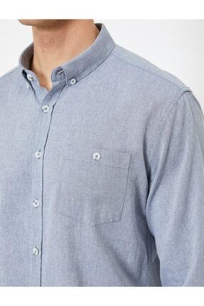 Koton Erkek Lacivert Cep Detayli Gömlek 4