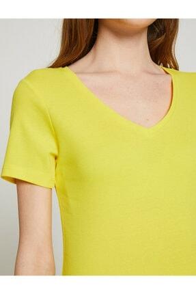 Koton Kadın Sari T-Shirt 4