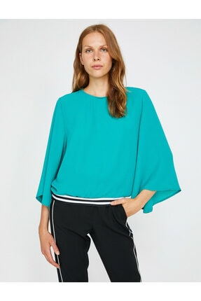 Koton Kadın Yeşil Volanlı Bluz 1