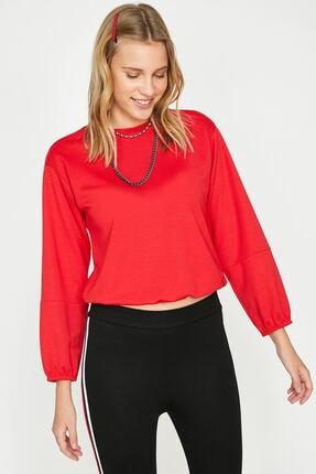 Koton Kadın Kırmızı Bisiklet Yaka Uzun Kollu T-Shirt 9YAL18596IK 1