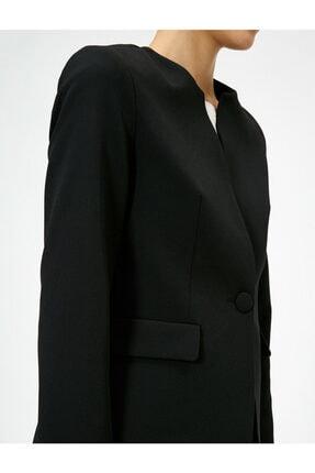 Koton Kadın Siyah Tek Dügme Detayli Ceket 4