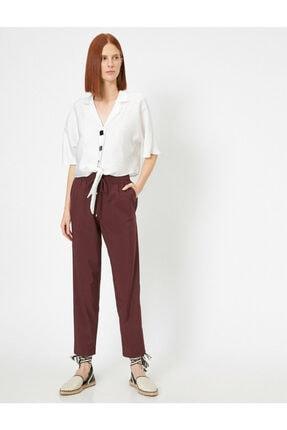Koton Kadın Bordo Belı Bağlamalı Pantolon 0YAK42811UW 1