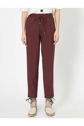 Koton Kadın Bordo Belı Bağlamalı Pantolon 0YAK42811UW 2