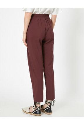 Koton Kadın Bordo Belı Bağlamalı Pantolon 0YAK42811UW 3