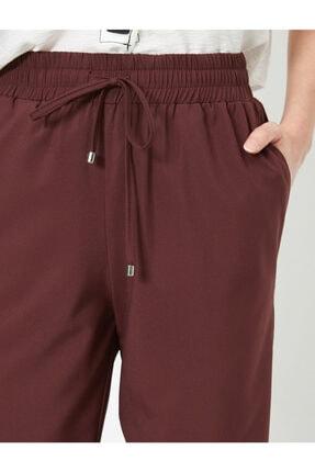 Koton Kadın Bordo Belı Bağlamalı Pantolon 0YAK42811UW 4