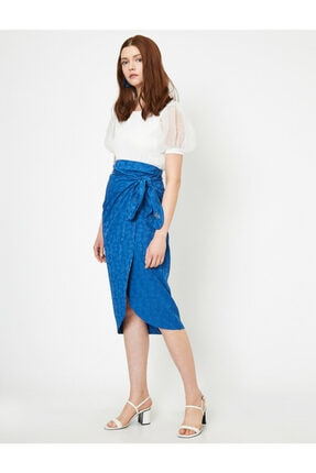 Koton Skirtly Yours Styled By Melis Agazat - Desenli Beli Baglamali Etek 0
