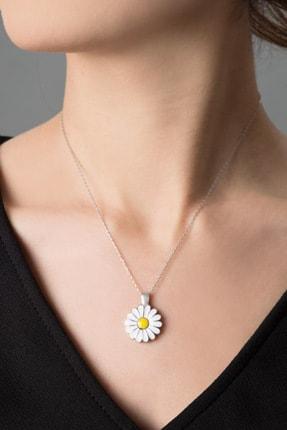 Elika Silver Kadın Canım Annem Yazılı Açılabilir Papatya Rose Kaplama 925 Ayar Gümüş Kolye 1
