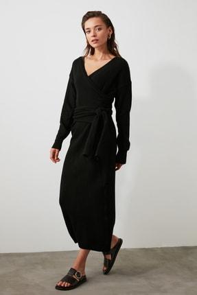 TRENDYOLMİLLA Siyah Kruvaze Bağlamalı Triko Elbise TWOAW21EL0260 1