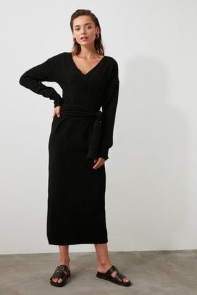 TRENDYOLMİLLA Siyah Kruvaze Bağlamalı Triko Elbise TWOAW21EL0260 2