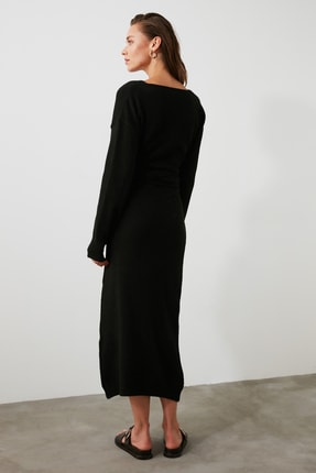 TRENDYOLMİLLA Siyah Kruvaze Bağlamalı Triko Elbise TWOAW21EL0260 4