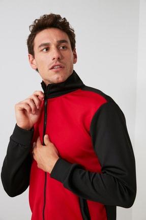 TRENDYOL MAN Kırmızı Erkek Panelli Fermuarlı Dik Yaka Slim Fit Sweatshirt TMNAW21SW0661 3