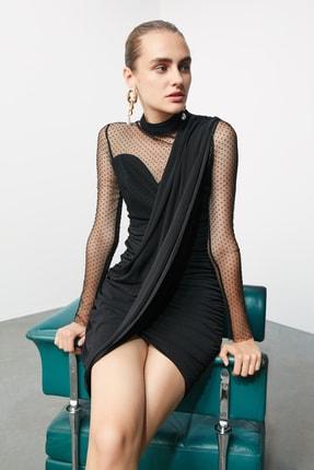 TRENDYOLMİLLA Siyah Puantiye Tül Detaylı Elbise TPRSS20EL0806 1